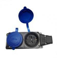 8002750 Розетка каучук VITO 16A подвійна з заглуш. синя