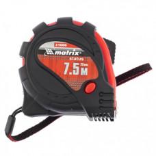 310319 Рулетка Status magnet 3 fixations, 7,5м х 25мм, прогумований корпус,зачіп з магнітом//МТХ