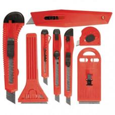 789919 Набір ножів, висувні леза, 9мм-4, 18мм-2,+шкребки висувні фіксовані леза, 40-52мм, 2шт//VTX